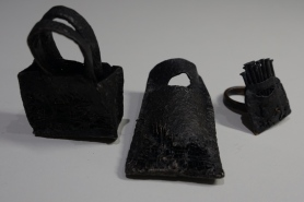 Bags waiting for food, rings, bronze, copper, Mihaela Comanm 66x41x24, 61x41x56, 35x35x26,