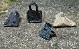Bags waiting for goods, rings, bronze, copper, Mihaela Comanm 66x41x24, 61x41x56, 35x35x26,46x66x28
