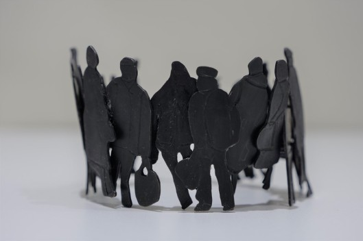 People queueing for food, bracelet,copper&brass, 86 x43 mm, Mihaela Coman i